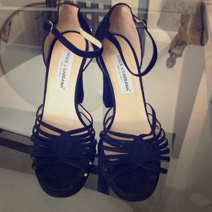 D & G Black Suede Block Heels